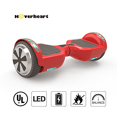 Hoverboard 6.5″ UL 2272 Listed Two-Wheel Self Balancing Electric Scooter with Top LED Light And Bluetooth Speaker (Red)