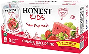 HONEST Kids Organic Juice Drink, Super Fruit Punch, 6.75 fl oz Pouches (Pack of 32)