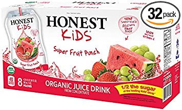 HONEST Kids Organic Juice Drink, Super Fruit Punch, 6.75 fl oz Pouches (Pack of 32)