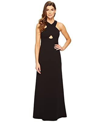 Aidan Mattox Womens Scuba Crepe Long Gown With Cut Out Detail And
