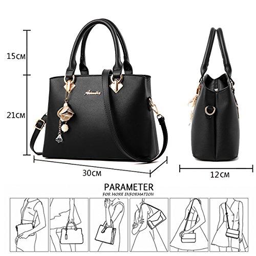 Tisdaini Women's Bag Fashion Shoulder Elegant Designer Bag Messenger Handbag Patent Black U1URqw