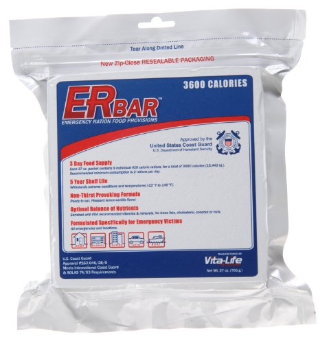 ER Emergency Ration 3600 Calorie Food Bar for Survival Kits and Disaster Preparedness, Single Bar, 1B ()