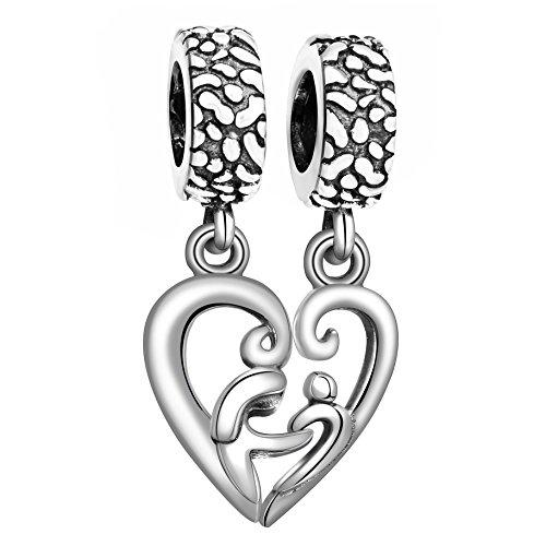 Angemiel 925 Sterling Silver Mother Love Her Child Heart Dangle Charms Bead for European Snake Chain Bracelets