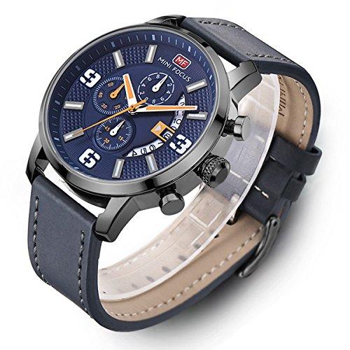 Modiwen Herren-Armbanduhr, Lederarmband, Quarz-Uhrwerk, wasserdicht, Business-Chronograph, analoge Funktion blau
