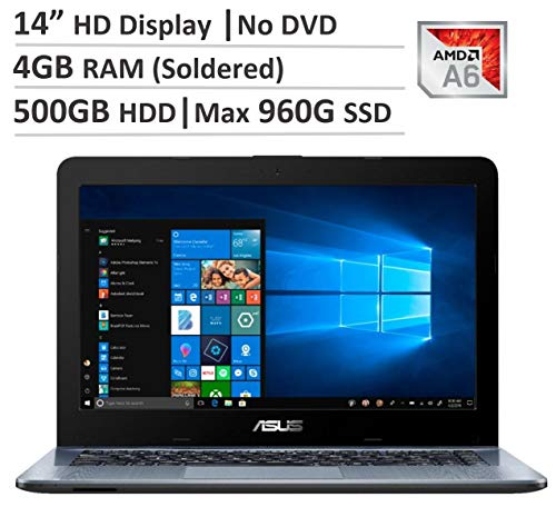 Asus 14 inch HD Flagship Laptop with AMD A6 Processor, Or 15.6 inch with Intel Celeron Processor, 4GB DDR4 RAM (soldered), 500GB HDD, Or up to 960GB SSD, No DVD, WiFi, Webcam, Bluetooth, Win 10