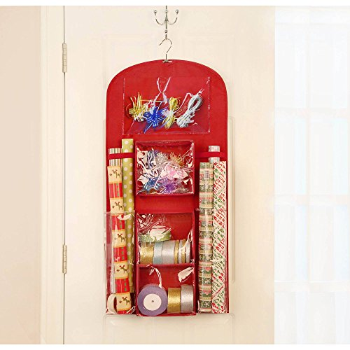 Hanging Gift wrap Organizer in Red with Two Year Pocket Planner for 2017-2018