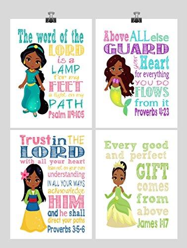 African American Princess Set of 4 - Christian Nursery Decor Wall Art Print - Ariel, Jasmine, Tiana , Mulan - Bible Verse - Multiple Sizes