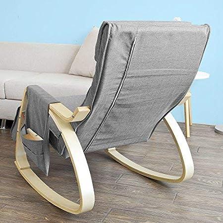 SoBuy® Sillón de relada, Mecedora, Sillón de diseño, Butaca de madera, FST18-DG,ES