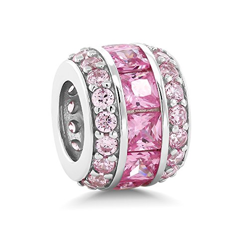 Sterling Silver Pink Cubic Zirconia 12X9MM Bead Charm Compatible W/ Pandora (Pink Silver Charm)