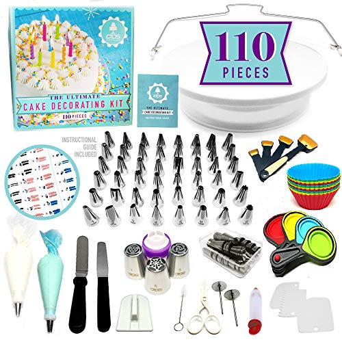 NEW!!! 110pc Ultimate Cake Decorating Supplies Kit, Rotating Cake Decorating Turntable,48 Piping Tips, 3-Russian Nozzles, Piping Bags,Baking Supplies,Cupcake Decorating Kit,Icing Tips,Decorating Tools (Baking Supply)