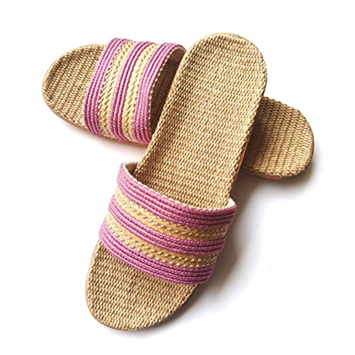 Summer NEAER Pink Linen Breathable Women Men Open Lightweight Slipper Slippers Slipper House for Toe Flax wZgIgxq4