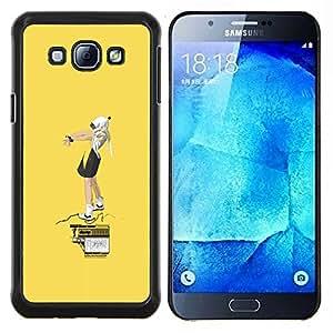 LECELL--Funda protectora / Cubierta / Piel For Samsung Galaxy A8 A8000 -- Amarillo Street Art --