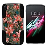 Alcatel OneTouch Idol 3 Case (5.5') [Gel Max Cover] Dual Layer Hybrid Silicone Hard Shell Case Kickstand Cool Designs by TurtleArmor - Captivating Pink Floral
