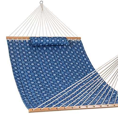 Lazy Daze Hammocks Quilted Fabric Hammock with Pillow for Two Person Double Size Spreader Bar Heavy Duty Stylish, Blue Floral