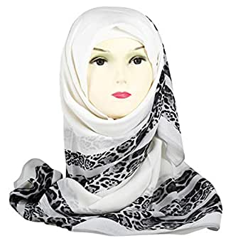 Shiyaka Fashion Scarf for Women - 120 x 120 cm, White and Black