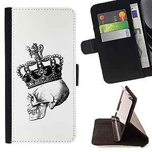 Jordan Colourful Shop - crown skull white black bling king For Apple Iphone 6 - < Leather Case Absorci????n cubierta de la caja de alto impacto > -