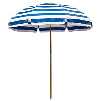 6.5u0027 Shade Star Beach Umbrella Color: Pacific Blue / White Stripe