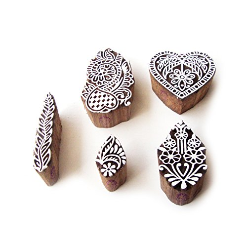 Flower and Heart Hand Carved Motif Wood Print Stamps (Set of 5)