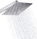 Kitschtm Ultra Thin Ss Square 200Mm (8' X 8' Approx.) Hi Gloss Mirror Polish Rain Shower Head Without Shower Arm