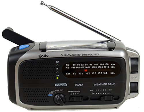 Kaito KA370 Voyager Solar/Crank AM/FM/SW NOAA Weather Radio with 5-LED flashlight, Black