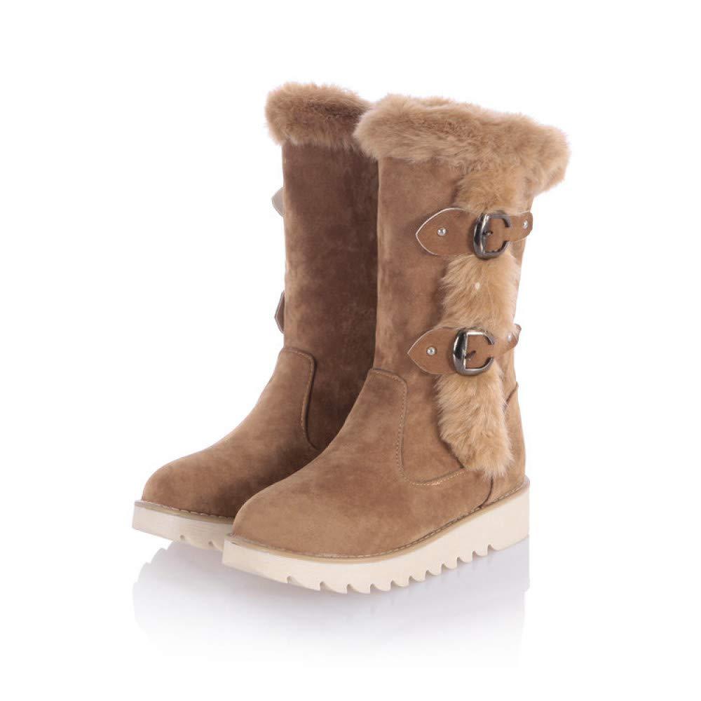 CN Botas de Nieve para para para Mujer, Botas de Invierno con Fondo Plano Antirresbaladizo Y Terciopelo Gruesos Zapatos de Algodón Cálido,Camello,35 cba39e