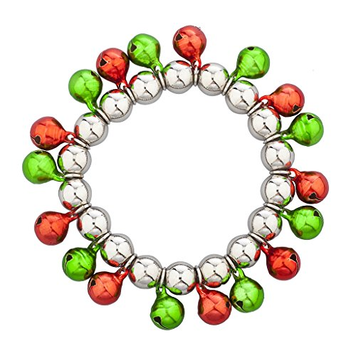 Lux Accessories Silver Tone Multi Color Christmas Jingle Bells Stretch Bracelet