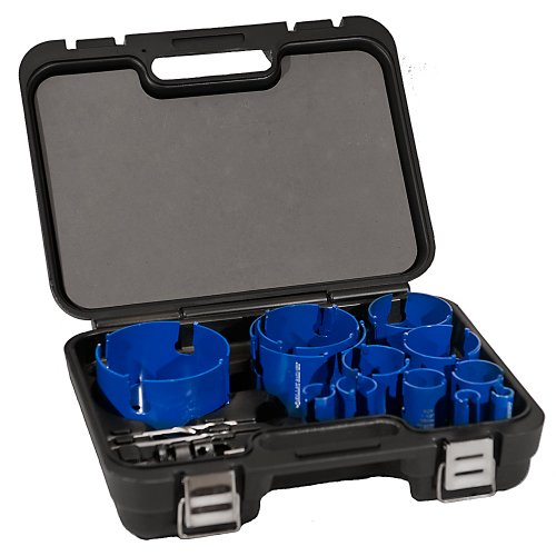 Plumbers Bit Kit (Blue Boar(R) Master Plumbers Kit-12 Sizes Mega Nail Tough Deep Cutting Tungsten Carbide Hole Saws. Cut 10x Faster, 3x Larger, 40x More Holes Using Cordless Drills. Ideal for Plywood, Mdf, Particle Board, Hardie Board. Deep Slots for Fast Plug Removal)