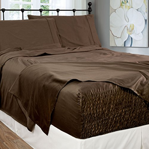 Bed Tite Stretch Fit 300-Thread Count 100-Percent Cotton Ultra Luxurious Deep Pocket Sheet Set (Full, Chocolate) (Pug Sheet Set)