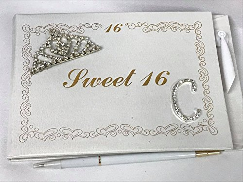 Sweet Magnet 16 (Sweet 16 Guest Book with Tiara Decoration Monogram Letter C Signature Book)