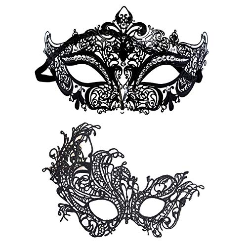 URDEAR Venetian Masquerade Mask for Men Women Halloween Mardi Gras Shiny Metal Rhinestone Prom Ball Masks Lace Mask Party Costume Accessory Black