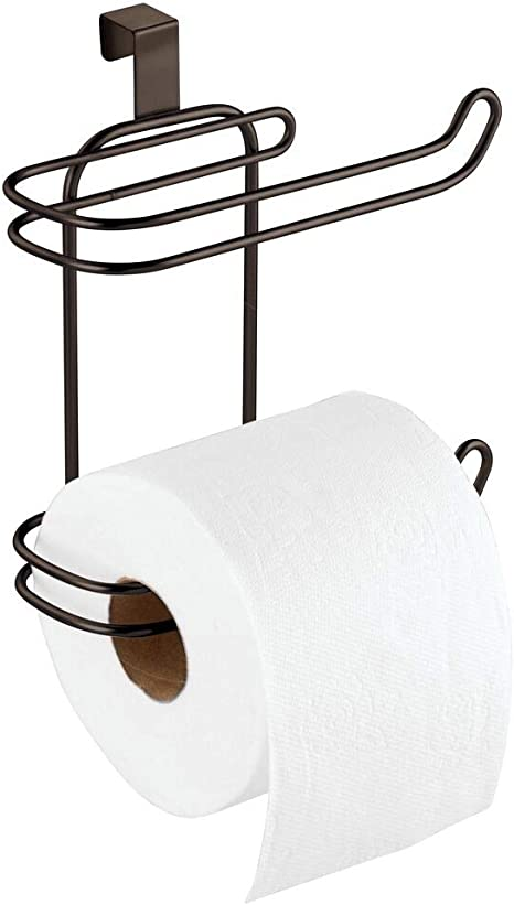 Bronze mDesign Toilet Paper Roll Holder for Bathroom Storage Over the Tank