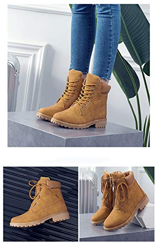 Lined Boots Up Warm Anti Combat Lace Brown Skid Boots Leather Martin Fashion Shoes Flat Bootie Ankle Women's Boots Winter Casual nqC80w4a