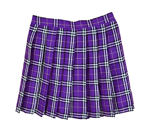 Women School Uniforms plaid Pleated Mini Skirt, Waist(76cm/29.5inch) XL, (Purple Plaid Skirt)