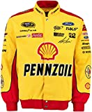 Joey Logano #22 Pennzoil-Shell Yellow/Red Cotton Twill NASCAR Racing Jacket (3X) offers