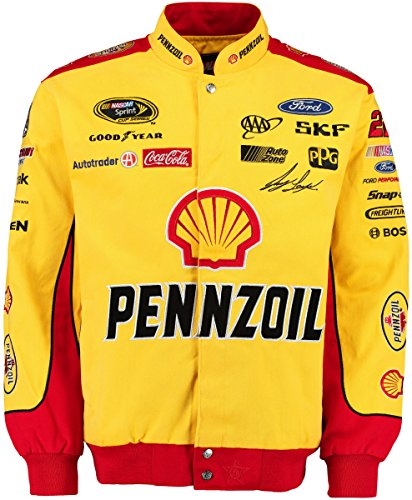 Joey Logano #22 Pennzoil-Shell Yellow/Red Cotton Twill NASCAR Racing Jacket (2X)