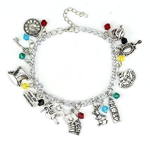 (Handcrafted Disney Themed Charm Adjustable Bracelet by Lovestruck Lulu. Several Styles Available Moana Bracelet, Alice in Wonderland Bracelet, Star Wars Bracelet, and more! (ALICE IN WONDERLAND))