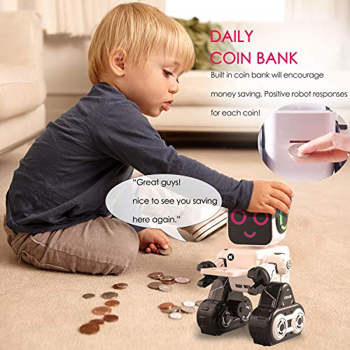 IHBUDS Remote Control Toy Robot for Kids,Touch & Sound Control, Speaks, Dance Moves, Plays Music. Built-in Coin Bank. Programmable, Rechargeable RC Robot Kit for Boys, Girls All Ages - White/Black by HBUDS (Image #3)