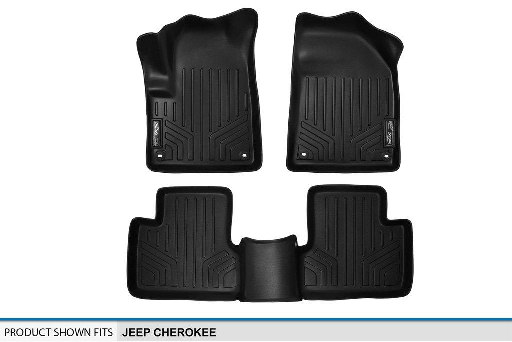 SMARTLINER Floor Mats 2 Row Liner Set Black for 2014-2019 Jeep Cherokee Maxliner USA A0150//B0150