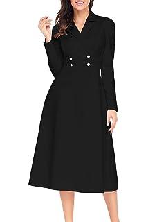 Elapsy Womens Casual Vintage Retro V Neck Short Sleeve Swing Midi A ... 42953cfbf