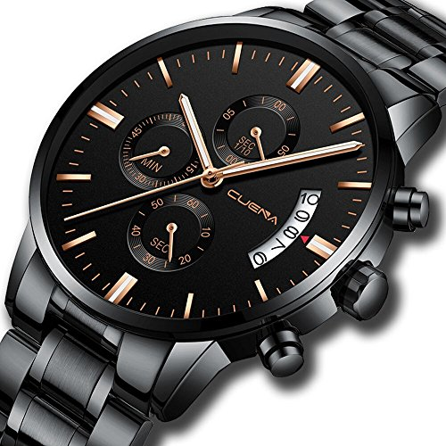 Classic Chronograph Waterproof Sport Watch Steel Band with Date Quartz Mens Black Wristwatches