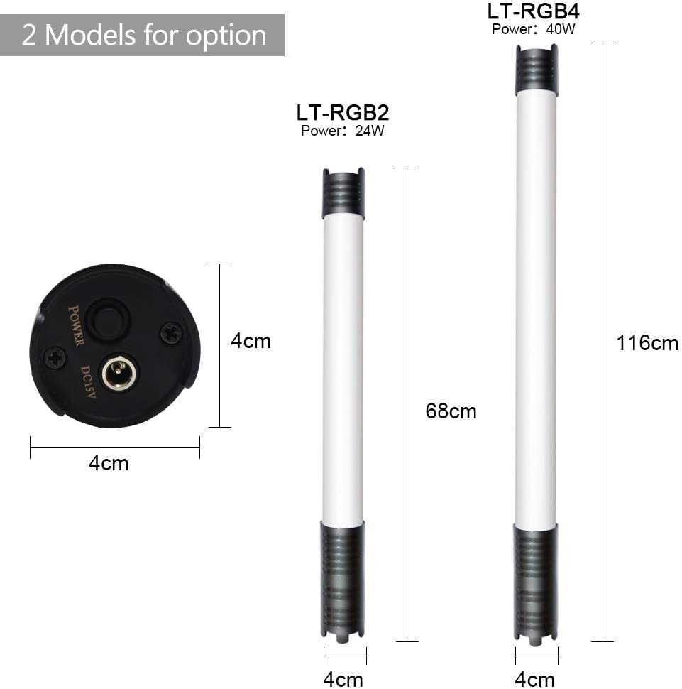 Leepesx Handheld RGB LED Video Tube Light Photography Fill-in Light Lamp 2800K-9990K Dimmable 12 Lighting Effect Built-in Battery Supports DMX Smartphone APP Control with Power Adapter Carry Bag 2pcs