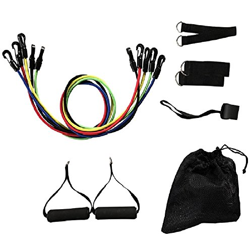 Resistance Band Set 11pc,Workout Bands Include 5 Exercise Bands, Door Anchor, Foam Handles, Ankle Straps and Carrying Bag for Resistance Training, Physical Therapy, Home Workouts