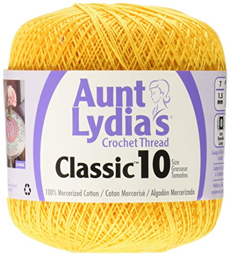 1 Aunt Lydia's Crochet, Cotton Classic Size 10, Goldenrod (Yellow Cotton Crochet Thread)