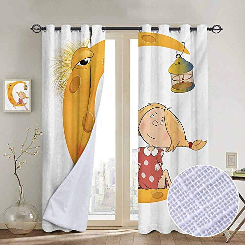 (NUOMANAN Pattern Curtains Teen Girls,Little Girl Sitting Barefoot Moon with Eye and Lamp Childhood Mystery Theme Cartoon,Orange,Living Room and Bedroom Multicolor Printed Curtain Sets 52