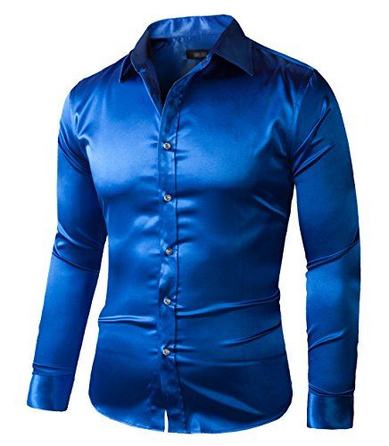 Zerdsky Men 39 S Slim Fit Satin Shiny Dance Prom Dress Shirt