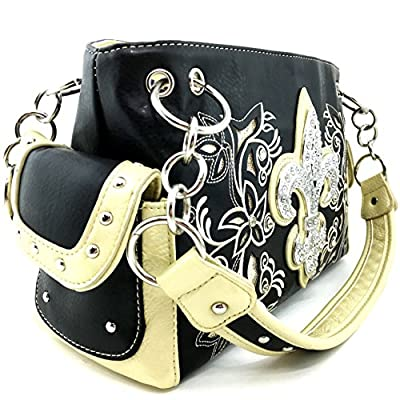 Justin West Fleur De Lis Western Purse Flower Embriodery Design Rhinestone Concealed Carry Handbag Matching Wallet