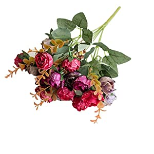 dezirZJjx Artificial Flowers 1 Bouquet Artificial Plastic Rose Flower Plant Home Office Shop Decoration - Wine Red 107