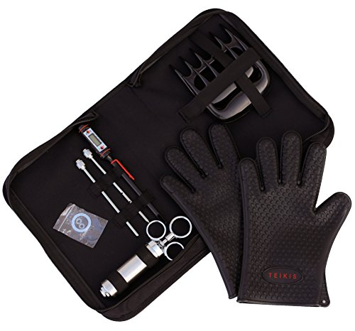 TeiKis BBQ Set [1x BBQ Gloves, 1x Bear Paws Meat Handler, 1x Seasoning Injector Grilling, 1x Case] Heat Resistant Barbeque Grill and Smoker Kit Accessories