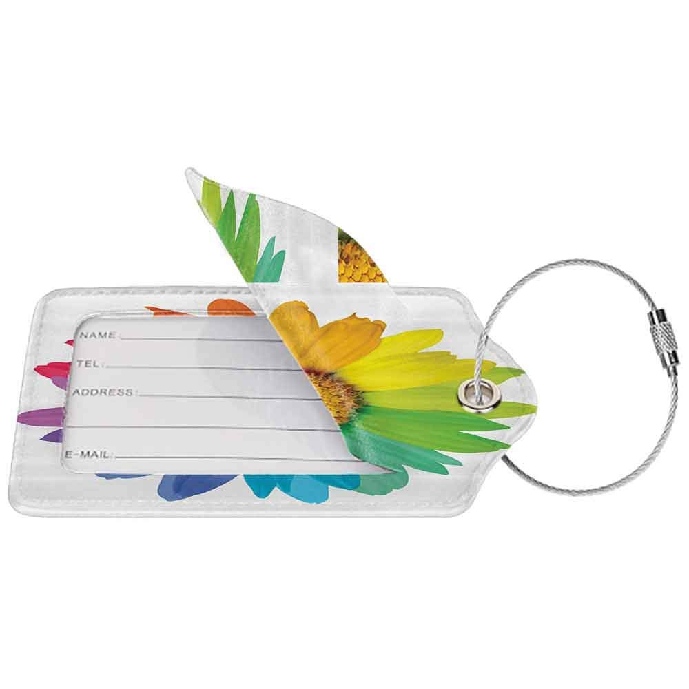 Multi-patterned luggage tag Flower Decor Rainbow Colored Sunflower or Daisy Spring Inspired Image Hippie Style Print Modern Home Decor Double-sided printing Multi W2.7 x L4.6