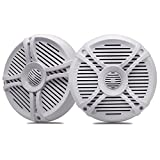 6.5 Inch Dual Marine Speakers - 2 Way Waterproof and Weather Resistant Outdoor Boat Audio Stereo Sound System with 120 Watt Power for ATV UTV RV Camper RZR